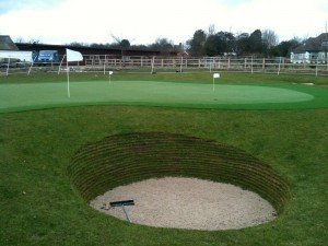 Synthetic Golf green with bunker