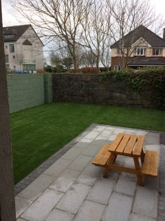 Patio and Artificial Grass Lawn