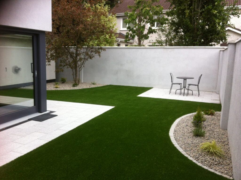 Artificial Grass Lawn + Granite Paving