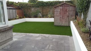 Artificial Grass + wall and planting_Galway
