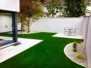 Artificial Grass Lawn, Granite Paving