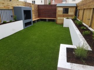 Artificial Grass Lawn + walls and planting